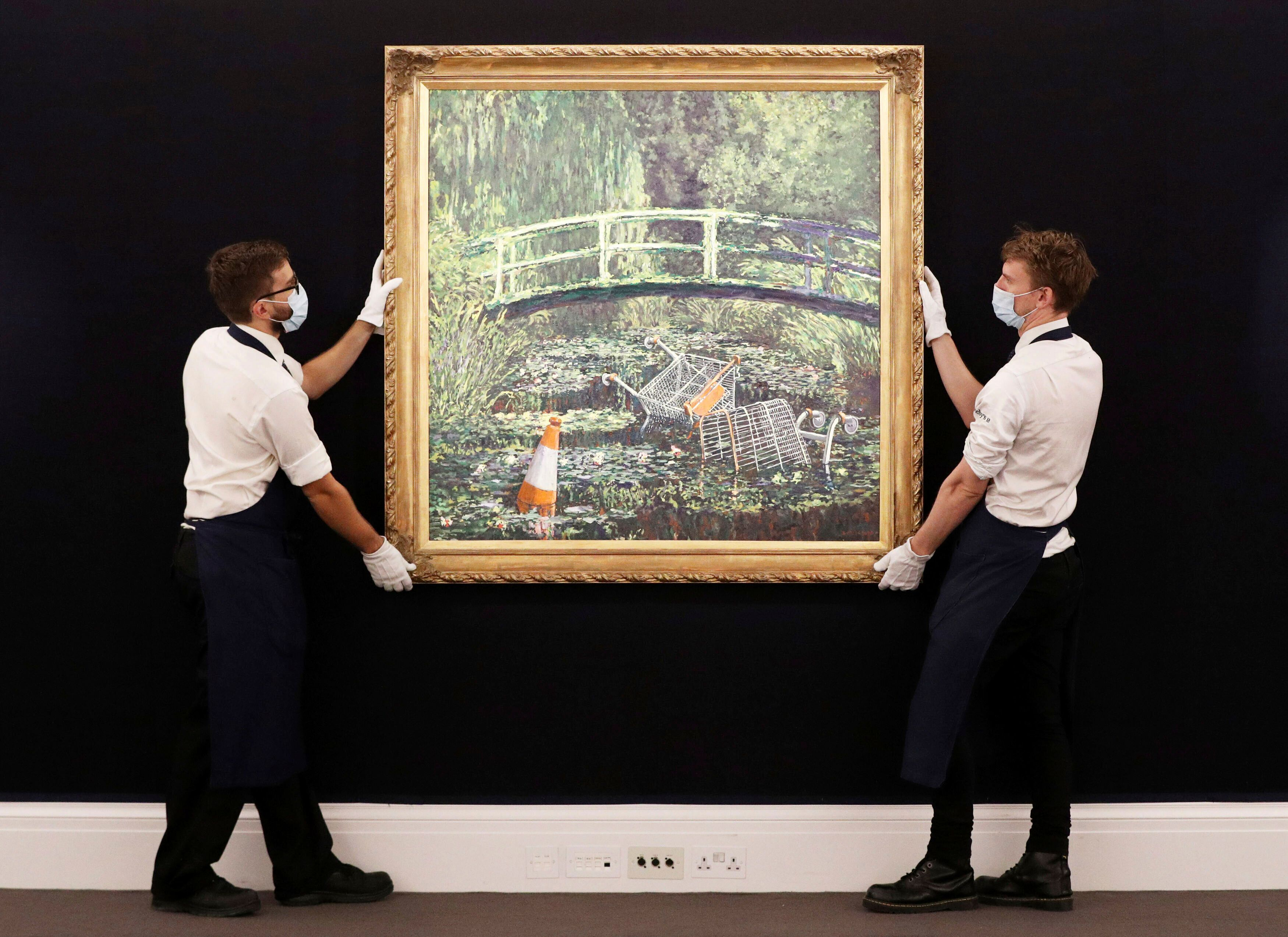 Banksy's Take On Claude Monet Painting Sells At Auction For $9.8 Million