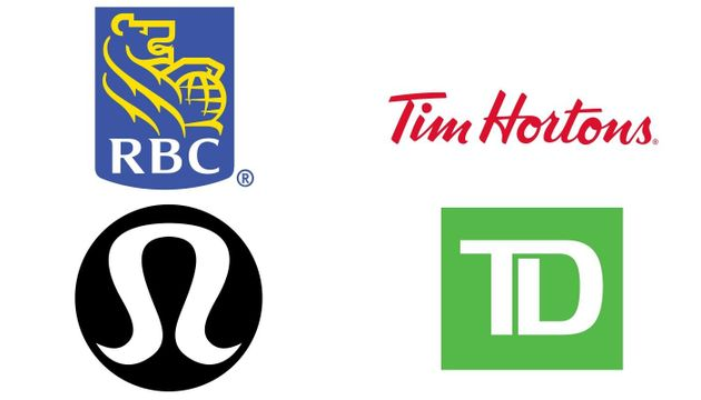 The logos of Royal Bank of Canada, Tim Hortons, Lululemon and TD Bank are seen in this composite