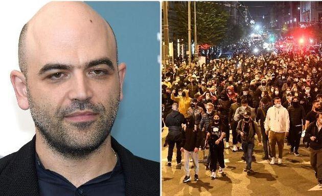 Roberto Saviano - la manifestazione a