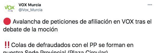 Tuit de Vox Murcia hablando de