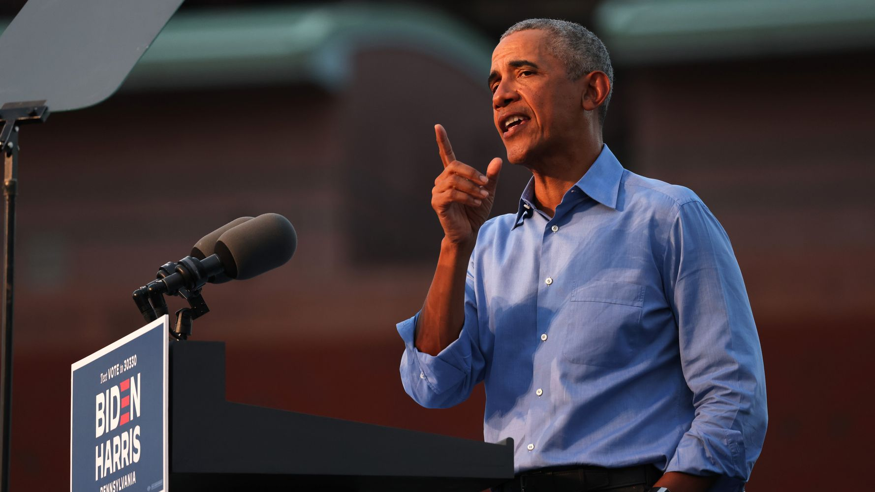 """It won't be so exhausting, just having a normal president,"" former President Barack Obama told a Florida crowd."