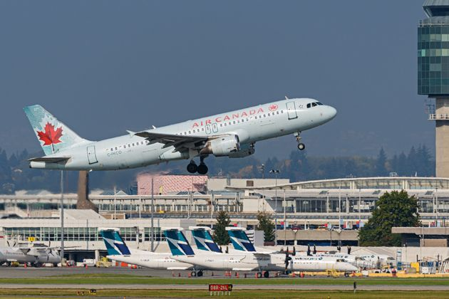 An Air Canada Airbus A320 jet (C-FKCO) takes off from Vancouver International Airport on Oct. 3, 2020...