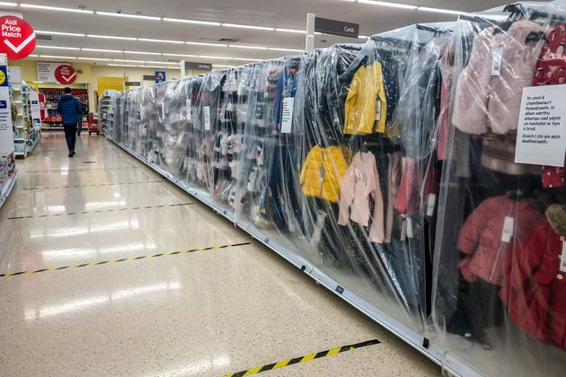 Childrens clothes in a supermarket near Cardiff are deemed non-essential items and are cordoned off as...