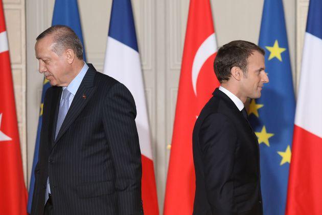 Emmanuel Macron et Recep Tayyip Erdogan le 5 janvier 2018 lors d'une conférence de presse commune à Paris...