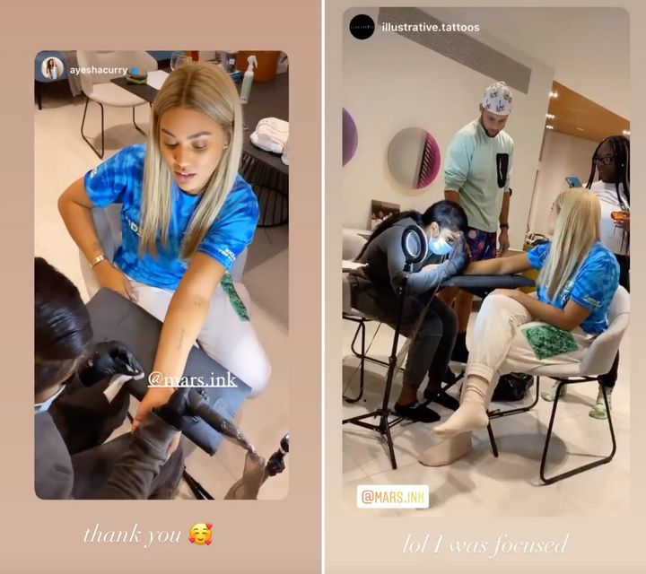 Ayesha Curry gets a tattoo from Imarri Townsend at Illustrative in east Toronto.