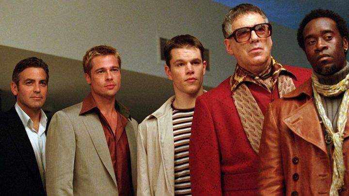 "George Clooney, Brad Pitt, Matt Damon, Elliott Gould and Don Cheadle in ""Ocean's Eleven"" on Netflix."