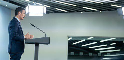 El presidente del Gobierno de España, Pedro Sánchez, comparece para realizar una declaración...