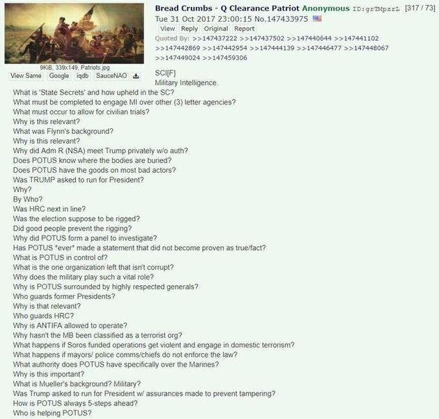 4chanに書かれた、Qアノン