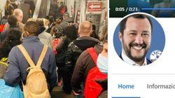 """Salvini posta foto del metrò di Roma: """"Assurdo chiudere piscine e teatri e non agire sui"""