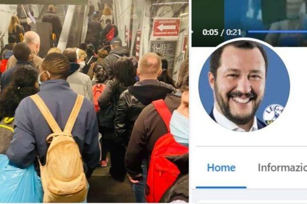 Salvini posta foto del metrò di