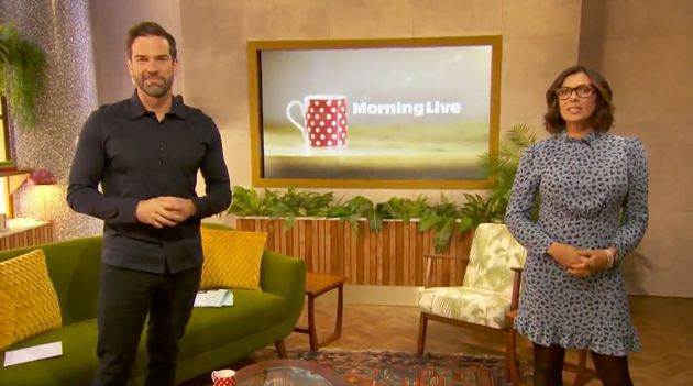 Gethin Jones and Kym Marsh on the set of Morning