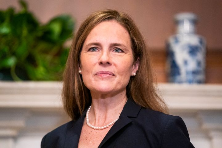 Supreme Court nominee Amy Coney Barrett meets with Sen. Martha McSally, R-Ariz., not pictured, Wednesday, Oct. 21, 2020, on C