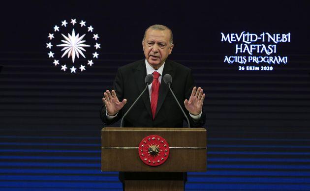 Recep Tayyip Erdogan s'exprimant à Ankara le 26 octobre