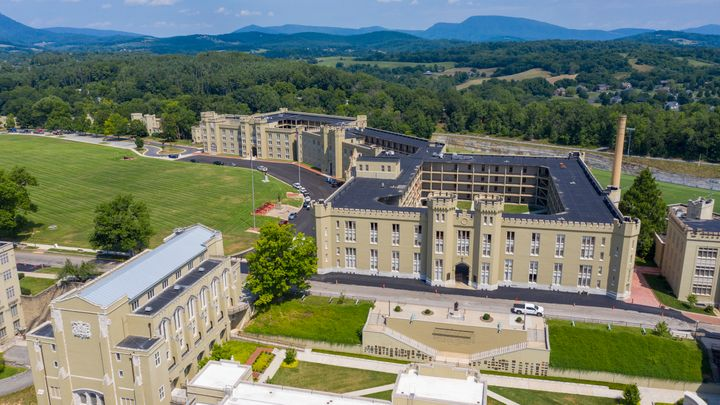 The barracks, right, and chapel, left, at Virginia Military Institute Wednesday July 15, 2020, in Lexington, Virginia. The sc