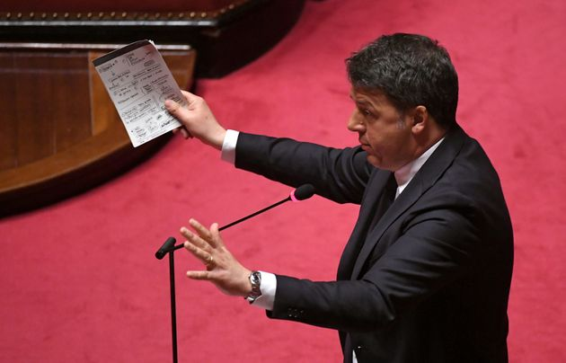 Senator and former Italian prime minister Matteo Renzi speaks in the Senate, the upper house of parliament,...