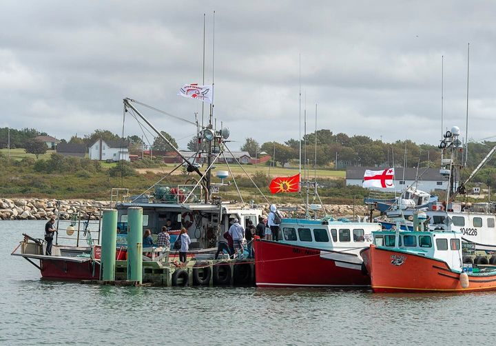 Members of the Sipekne'katik First Nation prepare to go fishing in Saulnierville, N.S., on, Sept. 17, 2020.