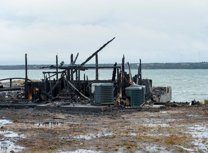 Fire destroyed a lobster pound being used by Mi'kmaw fishers in Middle West Pubnico, N.S., on Oct. 17, 2020.