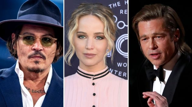 Johnny Depp, Jennifer Lawrence y Brad Pitt.
