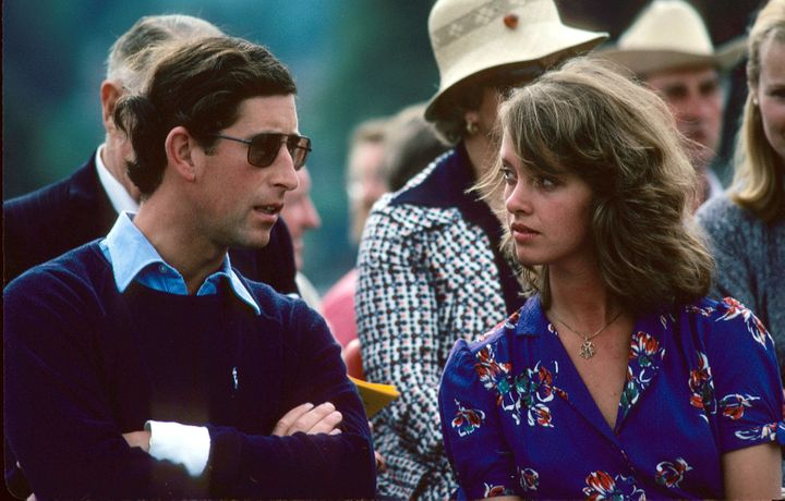 Prince Charles at a polo match with his ex-girlfriend Sabrina Guinness in 1979, two years before he married Diana.