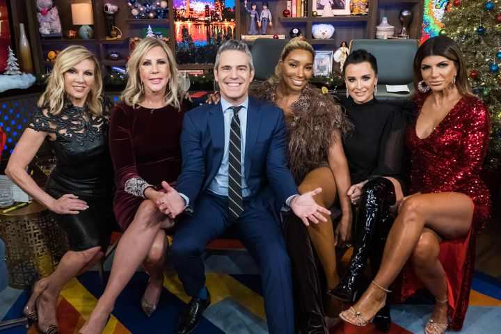 """Ramona Singer, Vicki Gunvalson, Andy Cohen, NeNe Leakes, Kyle Richards and Teresa Giudice pictured together during a """"Watch W"""