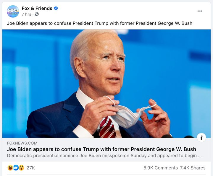 "A misleading story about a Joe Biden campaign event was shared on the Facebook page for ""Fox & Friends"" before it was upd"