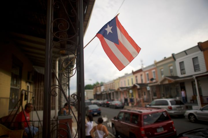 A Puerto Rican flag flies in North Philadelphia in 2018. Pennsylvania was a top destination for Puerto Ricans leaving the isl