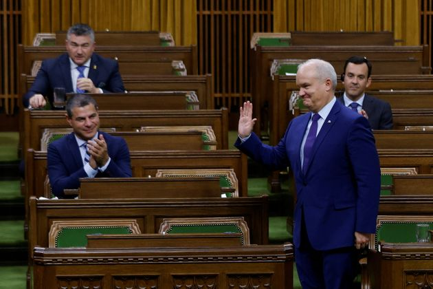 Conservative Party leader Erin O'Toole rises to vote in the House of Commons on October 21,