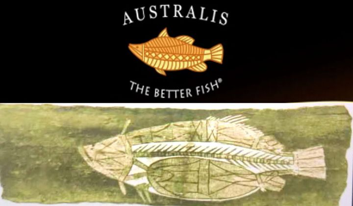 """Top: The logo for US-owned company Australis, which admits its logo could be seen """"through the lens of cultural appropriation"""" but suggests it is an """"homage"""" to the Australian food and wine scene. Bottom: Art found in the book 'Native Tribes of the Northern Territory of Australia' by anthropologist Sir Walter Baldwin Spencer."""