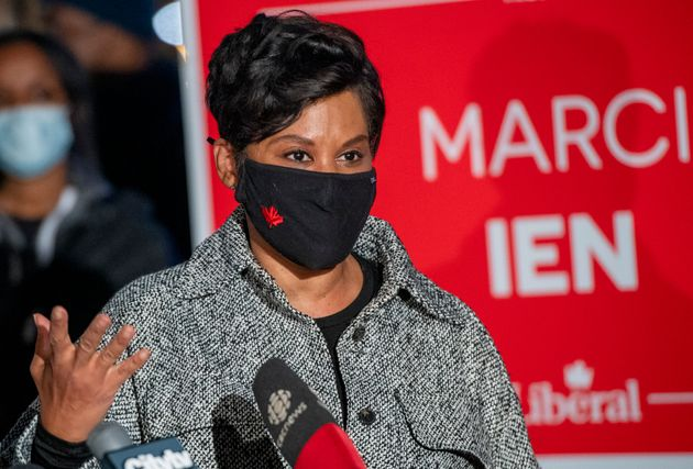 Marci Ien addresses the media after winning the Toronto Centre riding for the Liberals on Monday. Ien...