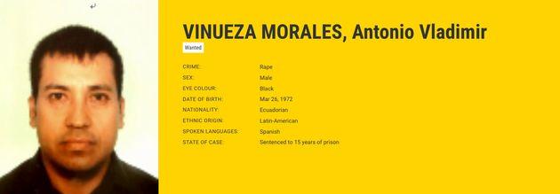 Ficha de Antonio Vladimir Vinueza Morales, de 48