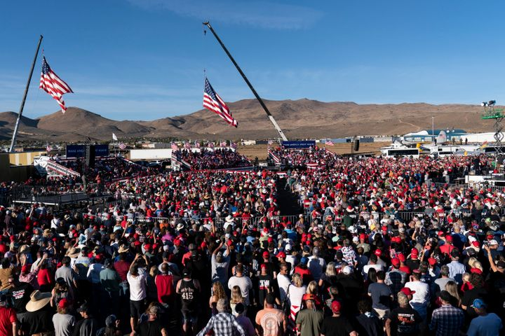 Trump speaks at a packed campaign rally held at the Carson City Airport on Oct. 18.