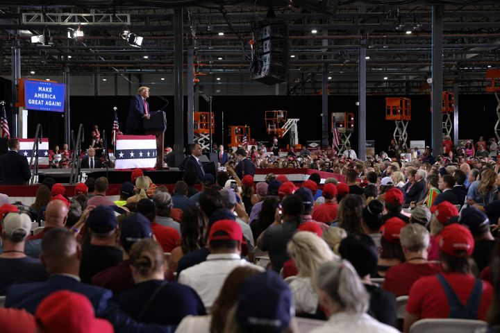 Trump rallies with supporters at an indoor campaign event in Henderson, Nevada, on Sept. 13.