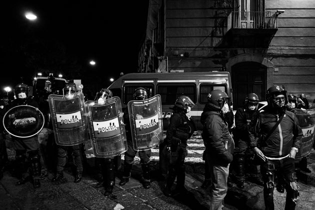 (EDITOR'S NOTE: Image was converted to black and white) Citizens together with shopkeepers protest in...