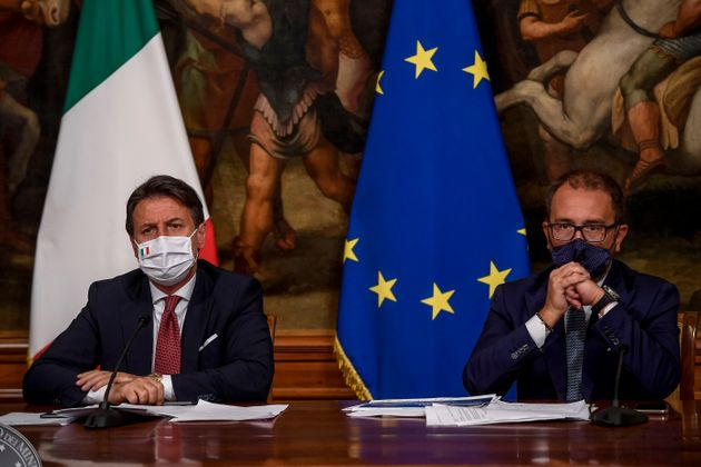 ROME, ITALY - AUGUST 7: Italian Prime Minister Giuseppe Conte and Italian Justice Minister Alfonso Bonafede...
