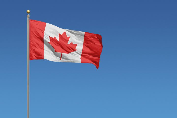 A Canadian flag on a flagpole.