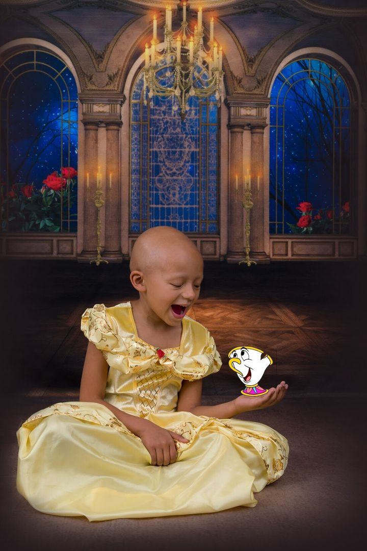 """Arianna Taft, a 5-year-old with kidney cancer, dressed as Belle from """"Beauty and the Beast."""""""