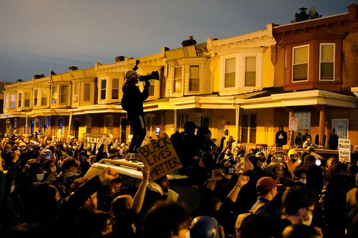 Protesters confront police during a march on Oct. 27, 2020 in Philadelphia.