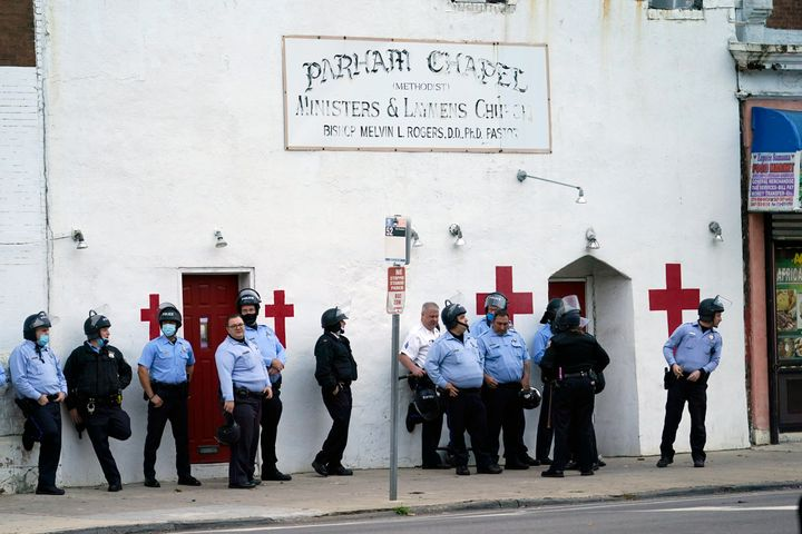 Philadelphia police stand by before a march, on Oct. 27, 2020.