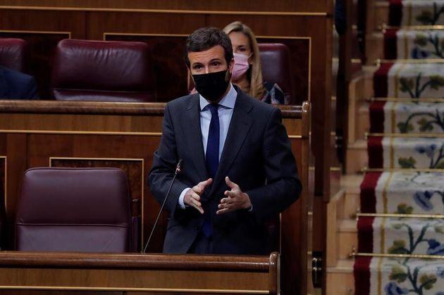 El líder del PP, Pablo Casado,este miércoles 28 de octubre en el