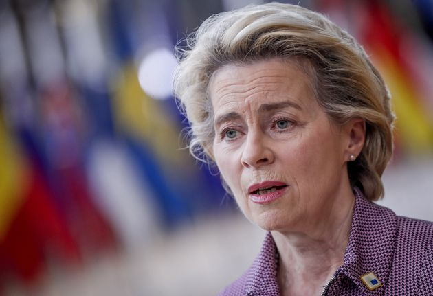 European Commission President Ursula von der Leyen arrives for a two days European Union (EU) summit...