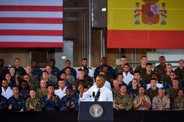 Barack Obama, durante su visita a la base de Rota, en julio de