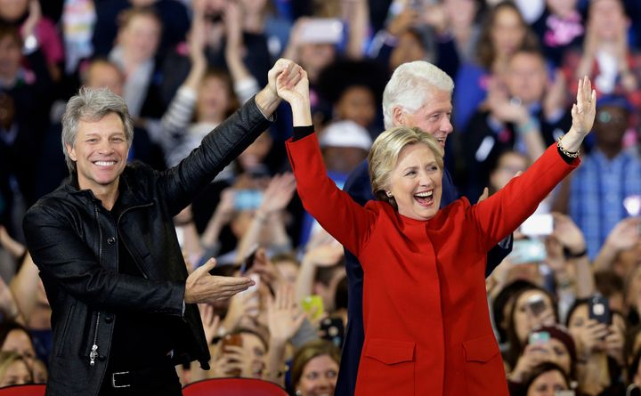 Presidential candidate Hillary Clinton is joined by Jon Bon Jovi during campaigning in 2016 - but for little reward.