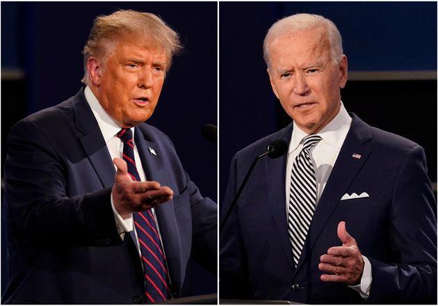 US president Donald Trump, left, and his challenger Joe Biden,