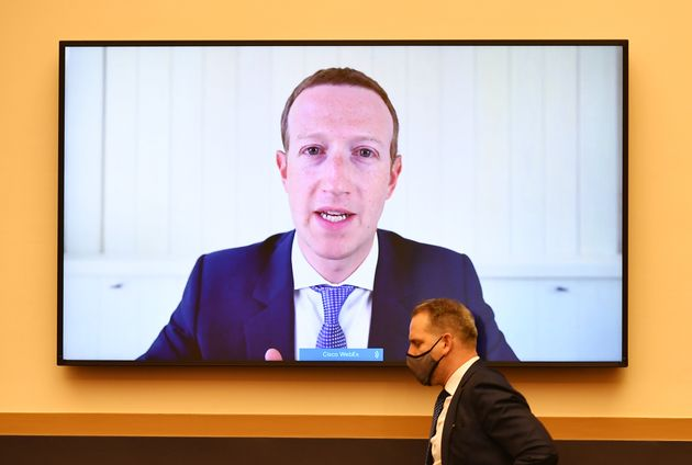 Facebook CEO Mark Zuckerberg speaks via video conference at a U.S. House judiciary subcommittee, July...