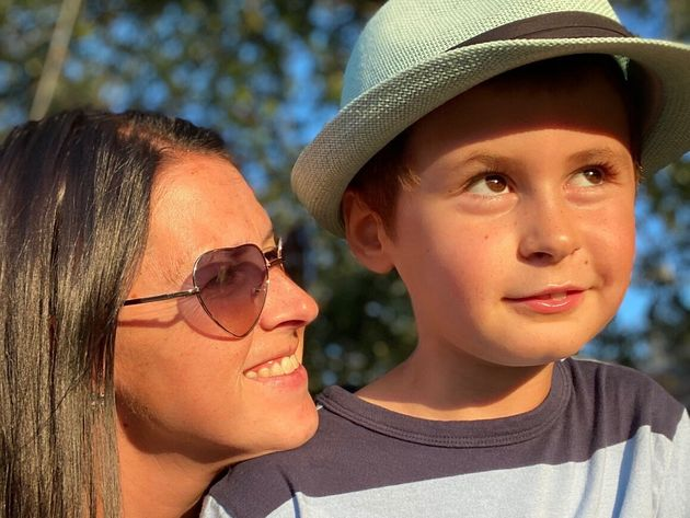 The writer, left, and her son,