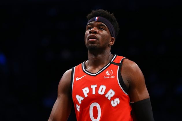 Terence Davis of the Toronto Raptors in action against the Brooklyn Nets on February 12, 2020 in New...