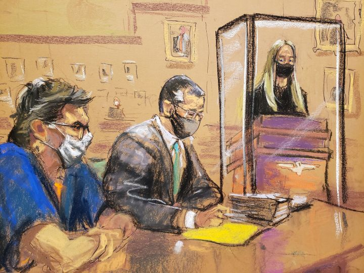 This courtroom sketch shows India Oxenberg giving a victim impact statement at the sentencing hearing for Keith Raniere, far left, in a Brooklyn courthouse on Monday.