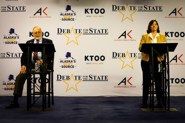 U.S. Rep. Don Young, left, and Alyse Galvin square off in a debate for the sole Alaska house seat Thursday, Oct. 22, in Ancho
