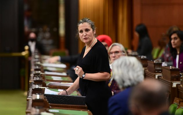 Minister of Finance and Deputy Prime Minister Chrystia Freeland answers a question during question period...