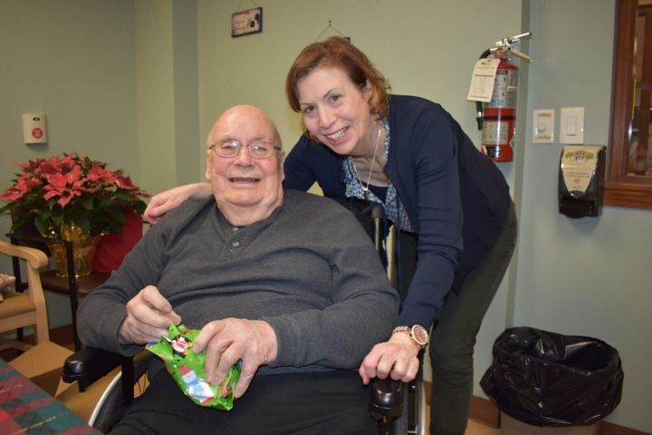 Janice Duffy poses with her father Douglas Moody, who lives in a long-term care home in London, Ont.